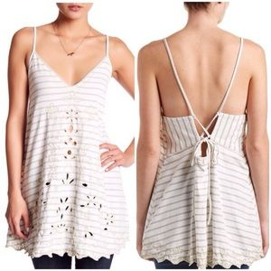 NWT Free People Embroidered Strappy Tank